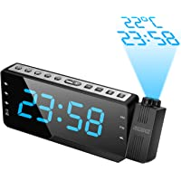 """SZMDLX Projection Alarm Clock for Bedrooms, FM Radio Alarm Clock with Temperature Display, 3 Alarms Snooze Sleep Timer, 7.5"""" Large LED Display & Dimmer, 12/24 Hour, USB Charging, Battery Backup for Kids, Heavy Sleepers"""