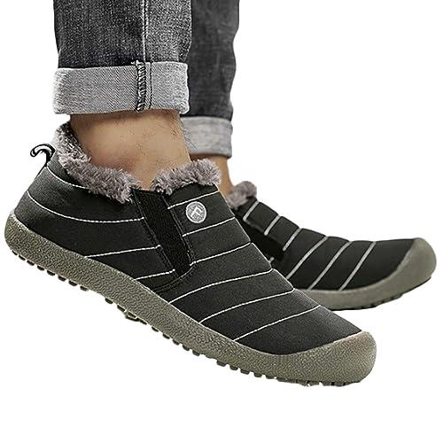bebc9efc07f583 IOSHAPO Hommes Femmes Mode Coton Chaussures Hiver Chaud en Caoutchouc  Semelle Souple Respirant imperméable à l