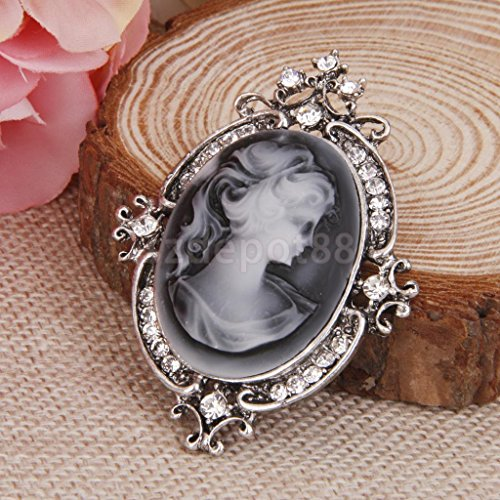 (Antique Cameo Victorian Style crystal Wedding Party Women Pendant Brooch Pin #2)