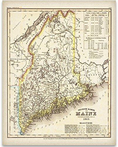 - 1845 Map of Maine Art Print - 11x14 Unframed Art Print - Great Vintage Home Decor