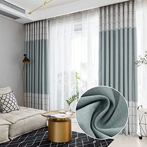 Leadtimes Splicing Decorative Curtains Blackout Linen Look Bedroom Light Blocking Grommet Panel