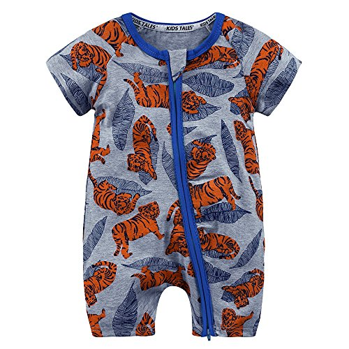 Summer Baby Boy Short Sleeve Tiger Pajamas Boys Cartoon Zipper Romper