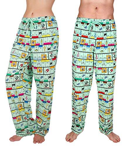 Monopoly Game Print Lounge Pants, Drawstring Waist Side Pockets
