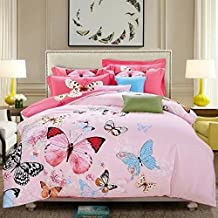 LELVA Butterfly Pattern Cotton Bedding Sets Bedding for Girls and Colorful Bedding, Queen King Size 4pcs (2, Queen)