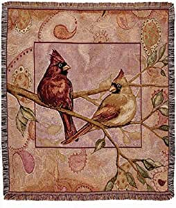 Simply Home Cardinal Companions Tapestry Throw Blanket