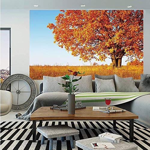 (Fall Decor Huge Photo Wall Mural,Lonely Ancient Oak Tree Grass Bushes Field Serene Rural Scenery,Self-Adhesive Large Wallpaper for Home Decor 100x144 inches,Orange Yellow Light)