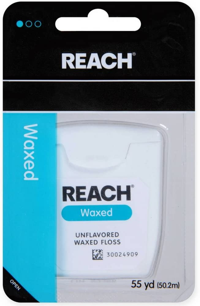 REACH Unflavored Waxed Dental Floss, 55 yds (Pack of 5)