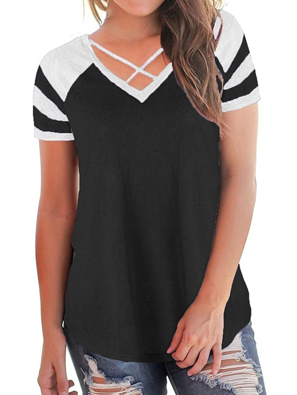 ecf8d1d9b82 Amazon.com  Womens Summer Short Raglan Sleeve V Neck T Shirts Loose Criss  Cross Curve Hem Casual Tee Tops Black  Clothing