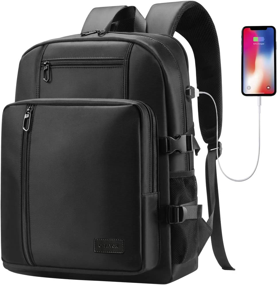 G-FAVOR Laptop Backpack, Business Travel Backpack with USB Charging Port for Women Men, College School Bag Computer Backpacks, Water Resistant Casual Daypack Fit 17.3 15.6 Inch Laptops Notebooks,Black