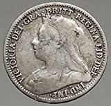 1896 UK Great Britain United Kingdom VICTORIA Threepence AR Coin i56786