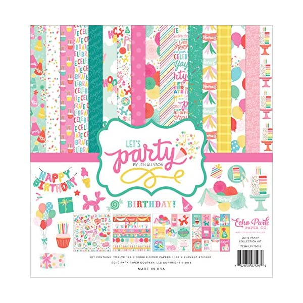 Teal Green Pink Echo Park Paper Company LP170023 Lets Party 6x6 Pad Paper Yellow