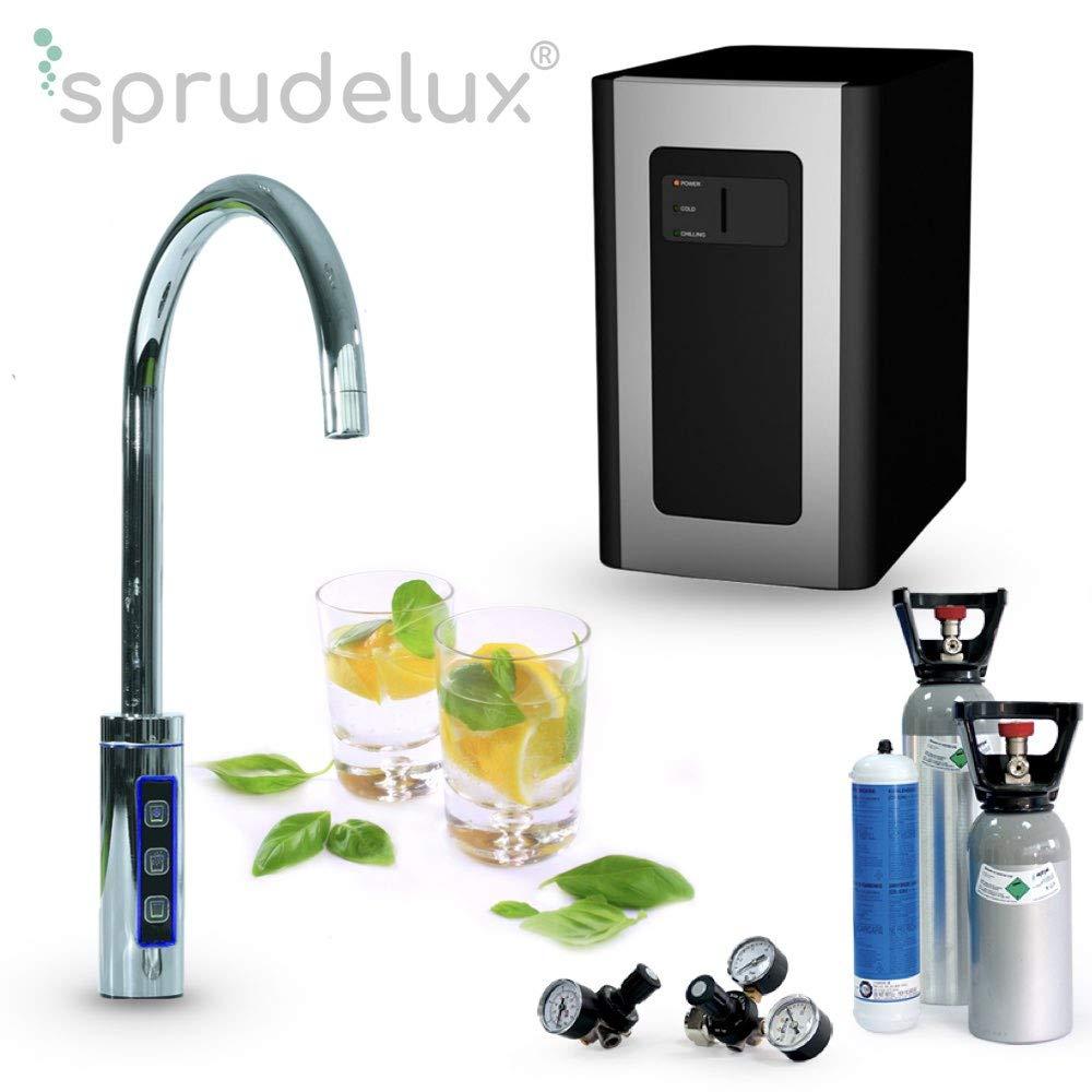 Wassersprudler Wasserhahn, Untertisch-Trinkwassersystem SPRUDELUX RED Diamond inklusive 3-Wege-Zusatzarmatur, Profi-Wassersprudler für den Privathaushalt, Wassersprudler kaufen