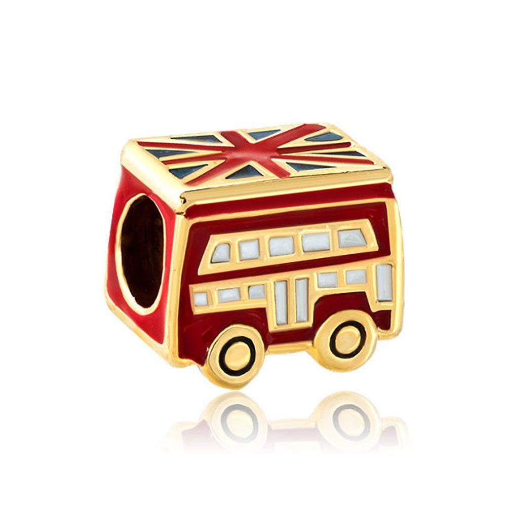 Red School Bus London Charms Gold Plated Sale Cheap Jewelry Beads For Bracelets pandöra charms DPC_MY365