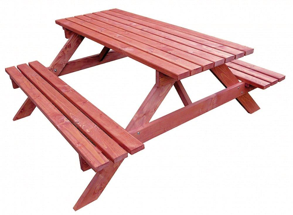 Massivholz Picknickset Sitzgruppe, Gartenbank + Gartentisch, Fb. Mahagonie