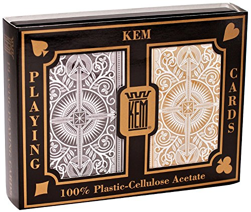 KEM Arrow Poker Size Playing Cards: Black and Gold, Wide Jumbo Index (2-Pack of 2) by Kem Playing Cards