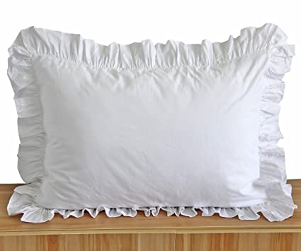 Amazoncom Queens House White Ruffle Pillow Shams King Size Set Of