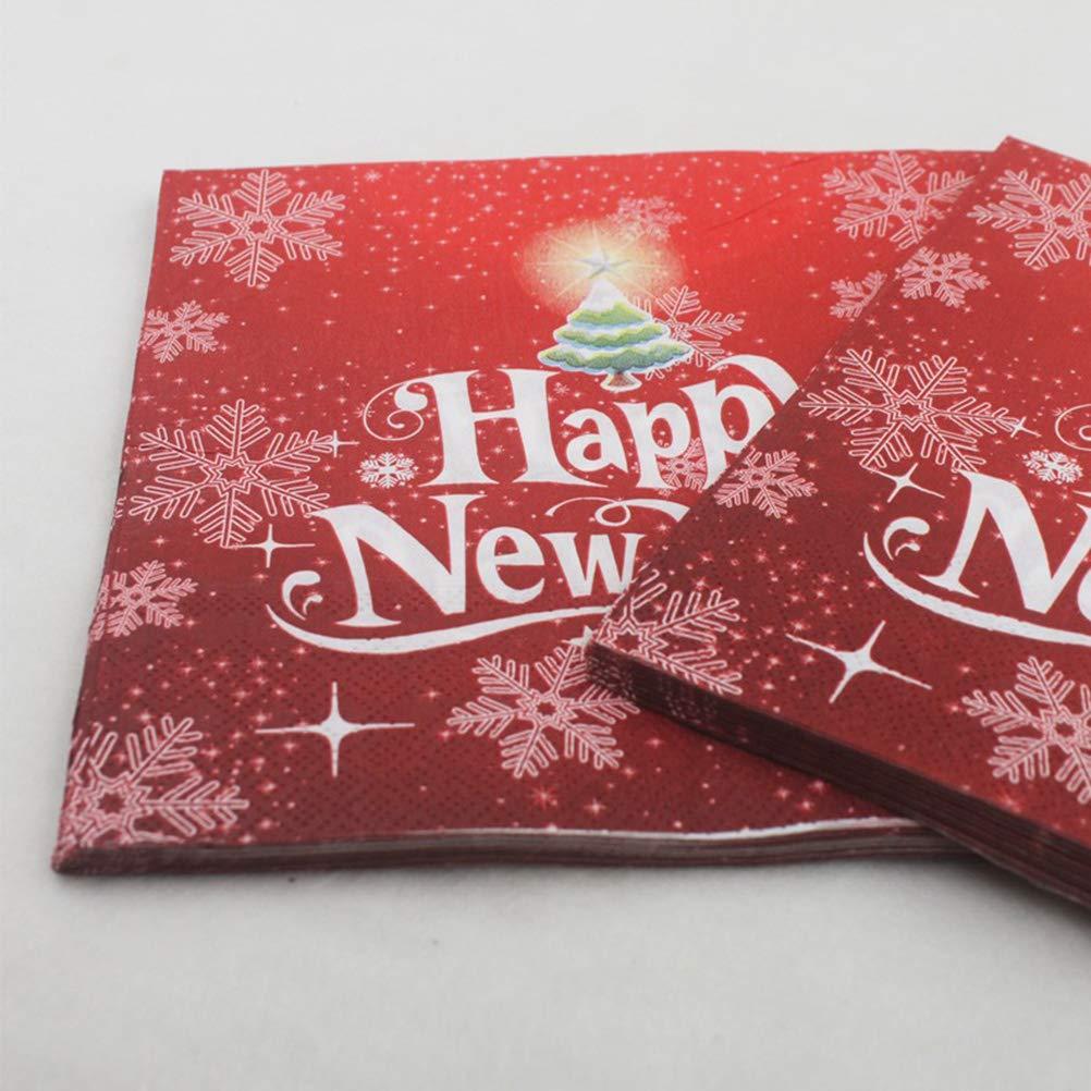 BESTOYARD Happy New Year Printed Napkin Wood Pulp Colorful Party Napkin Restaurant Decoration 100pcs by BESTOYARD (Image #4)