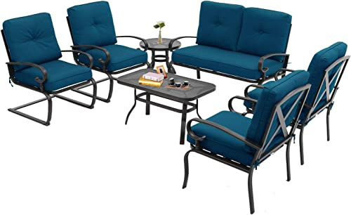 Incbruce 7Pcs Outdoor Patio Furniture Conversation Sets Loveseat, Coffee Table and Bistro Table, 2 Spring Chair, 2 Lounge Chairs -Wrought Iron Cafe Furniture Sets with Peacock Blue Cushions