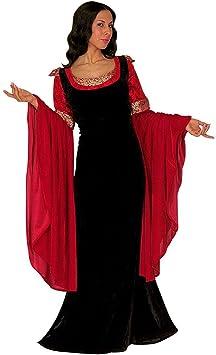 Disfraz de la Edad Media Burgfräulein vestido de colour negro-rojo ...