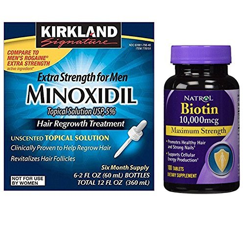 - Kirkland Minoxidil 5% Extra Strength Hair Regrowth for Men, 6 Month Supply with Natrol Biotin 10,000 Mcg Maximum Strength Tablets, 100-count