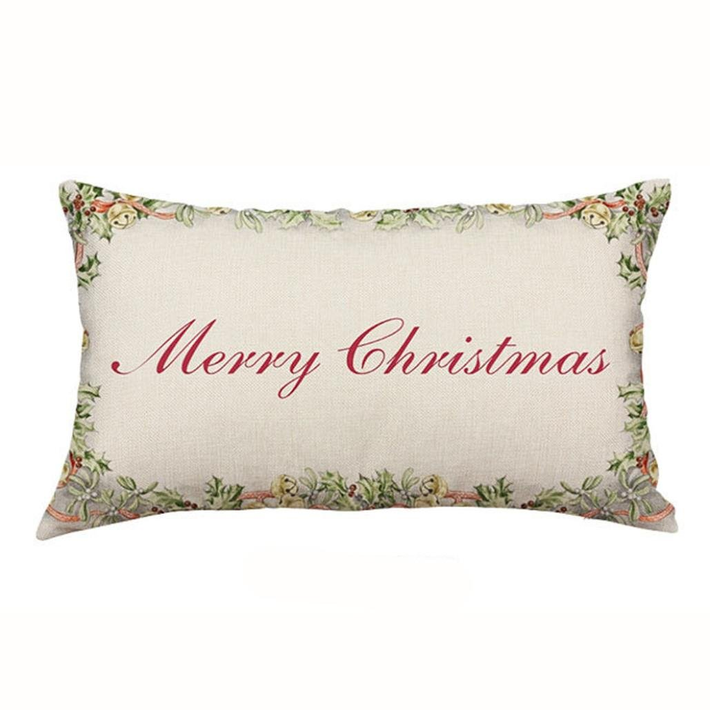 Hot Sale!! Auwer Christmas Rectangle Cotton Linter Pillow Case Cushion Cover Waist Throw Durable Decorative For Sofa,Bed,Chair,Auto Seat,Home Decor Festival Gift Pillowcase (C)