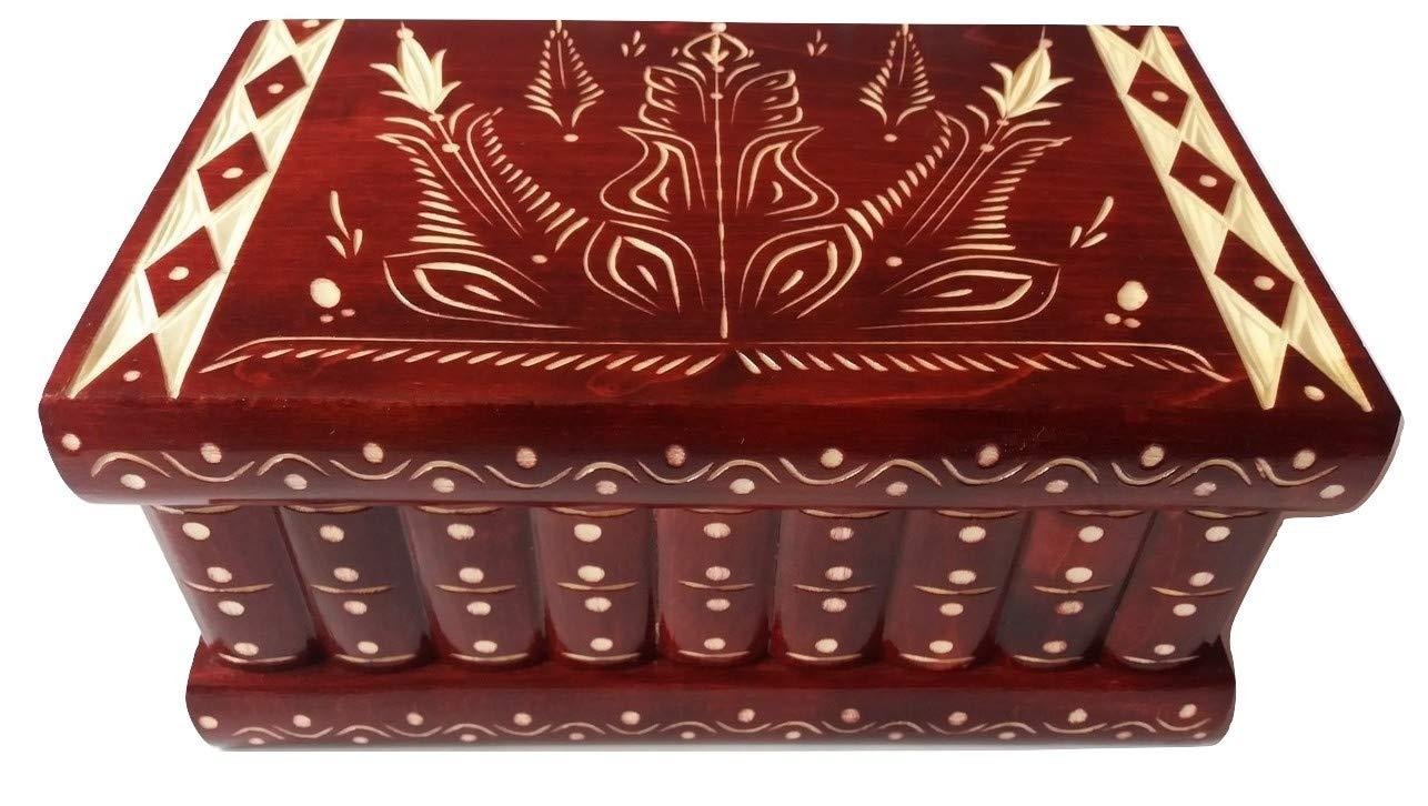 【メーカー直売】 巨大なパズルボックスマジックジュエリーボックスプレミアムトレジャーギフト新しい非常に大きなボックス茶色の手作りのミステリーケースは、木製のストレージの脳ティーザーを刻んだ (赤) (赤) B07CL9NSVS, かばんやさん:0a089487 --- fenixevent.ee