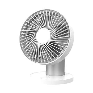LBTbate Mini Oscillating Desk Fan Portable Personal USB Fan 60°Auto Rotation Fan for Home, Office, Dorm, Traveling, Camping - Silver