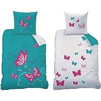 CTI Juego de ropa de cama reversible con diseño de mariposas, tamaño 135 x 200 cm, 80 x 80 cm, 100% linón de algodón…