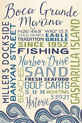 Boca Grande Marina, Florida - Typography with Waves (36x54 Giclee Gallery Print, Wall Decor Travel - Boca Shops Park