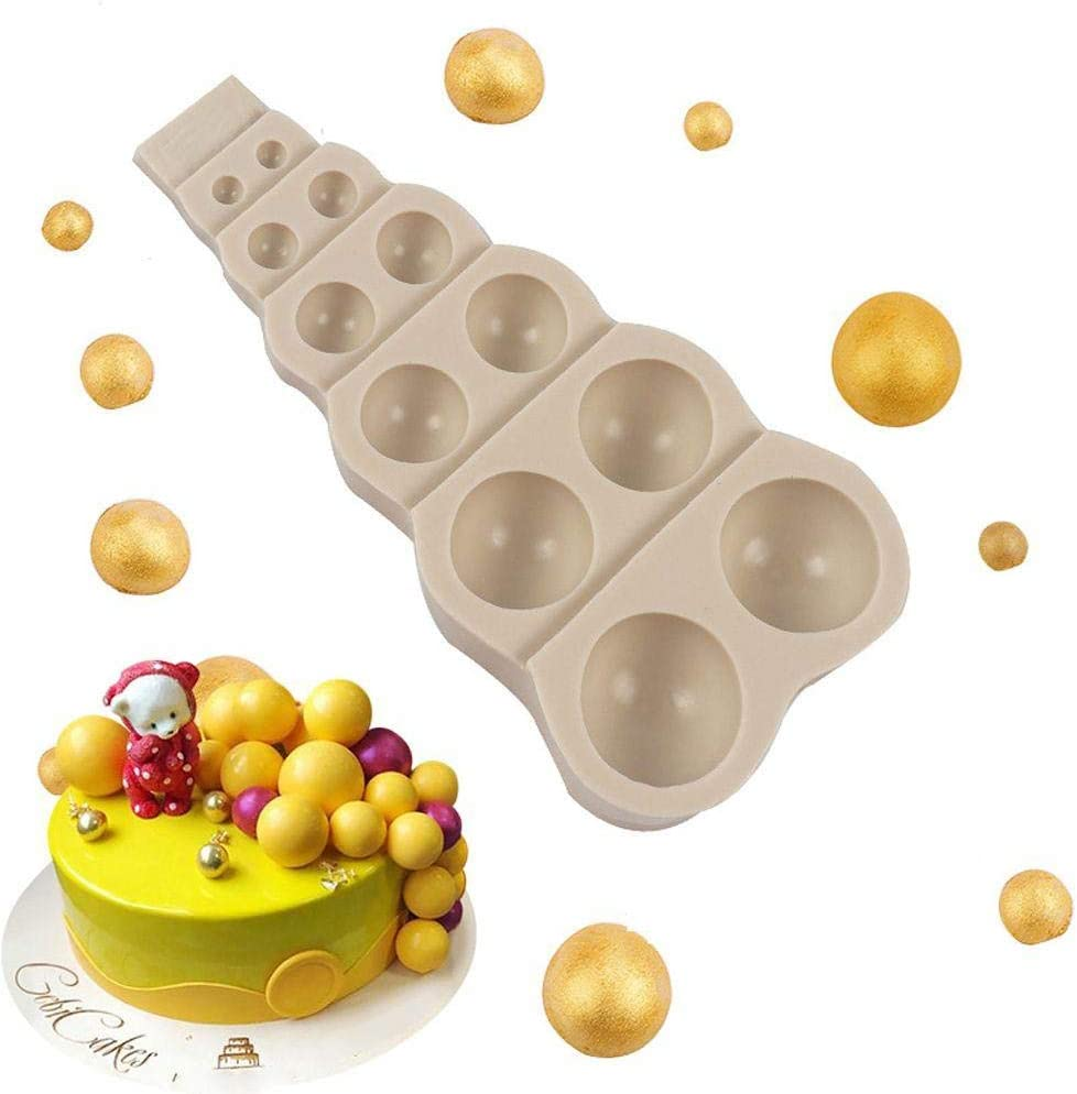 JUST N1 DIY 3D Bead Pearl Silicone Mould Chocolate Fondant Cake Decorating Sugar Mold Semi Sphere Silicone Mold Dome Mousse Accessories Bakeware Tool