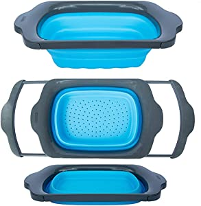 Collapsible Kitchen Colander - Over the Sink Kitchen Strainer By Comfify | 6-quart Capacity | Blue & Grey