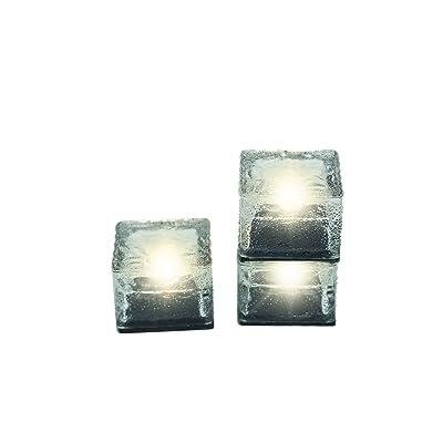 "Trademark Innovations 2 3/4"" Square Glass Brick Solar Powered Pathway Lights - Set of 3 : Garden & Outdoor"