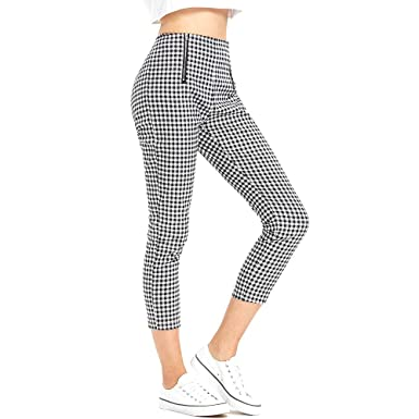ac4a59ad7efdd ZAFUL Women's Gingham High Waisted Zip up Slim Fit Pull-On Ankle Pants at  Amazon Women's Clothing store: