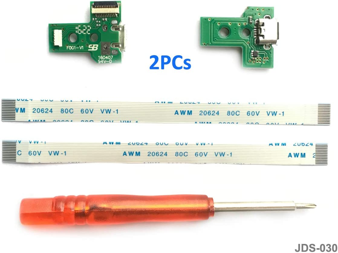2PCs JDS-030 Replacement Placa Controlador conectores de carga Micro USB para mando PS4, Tarjeta micro del cargador de batería del USB Parte adaptador, Flex Cable - PlayStation DualShock Controller