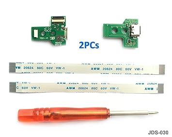 2PCs JDS-030 Replacement Placa Controlador conectores de carga Micro USB para mando PS4, Tarjeta micro del cargador de batería del USB Parte ...