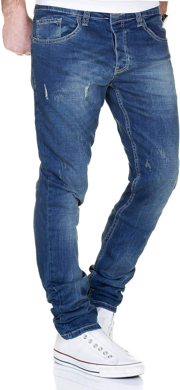 effetto Delav/é Stone 2100 Blau 36W x 32L cuciture spesse Jeans in denim da uomo taglio dritto Merish J9148