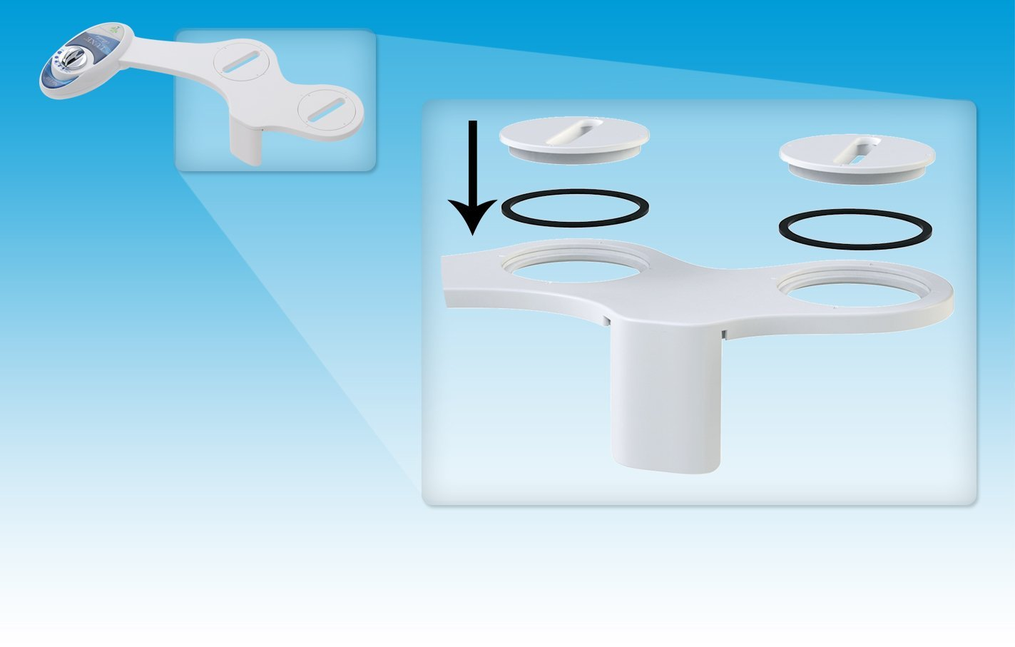 white and white Hot and Cold Water Non-Electric Mechanical Bidet Toilet Attachment Self Cleaning Dual Nozzle Luxe Bidet Neo 320 Renewed