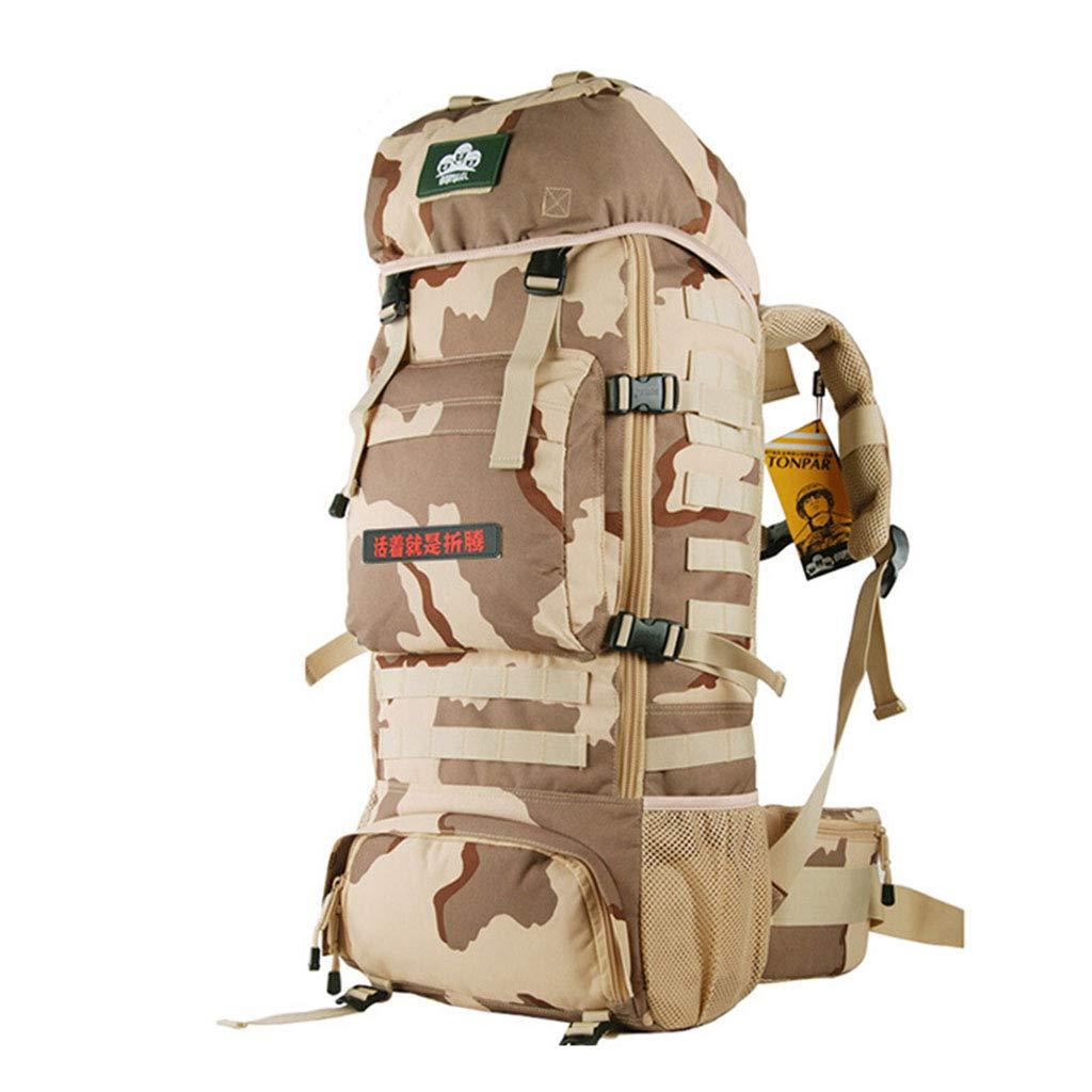 70Lプロのハイキングバックパック、レインカバー付きの軽く取り外し可能なインナーフレーム、男性と女性のキャンプ登山用バックパック  Camouflage B07NSV8CMK