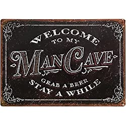 "Man Cave Decor Sign 11"" x 16"" Tin Metal ManCave Accessories Garage Bar Shop Crates Gifts For Men"