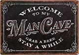 "Wind & Sea Man Cave Decor Vintage Tin Sign 11"" x 15"" Rustic Metal Wall Art Mancave Decoration Beer Gifts for Men, Dad, Son, Great in Office, Garage, Shop, Bar"