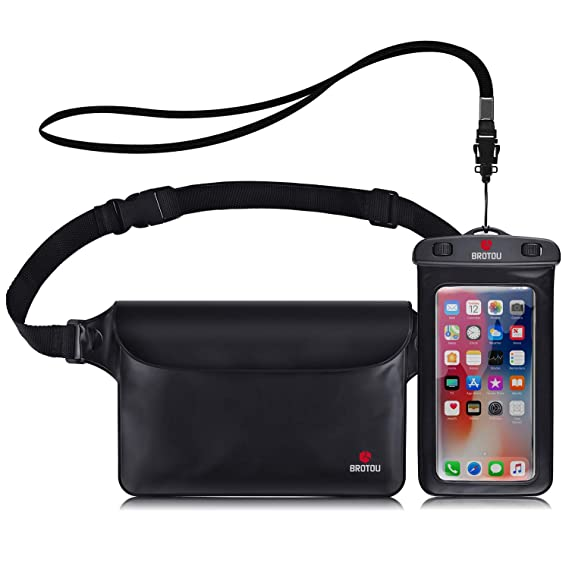 BROTOU Universal Waterproof Waist Pouch and Phone Case IPX8 Waterproof Dry Bag for Outdoor Activities Underwater Snorkeling Boating Swimming Fishing Sailing Beach Water Parks - Set best waterproof phone pouch