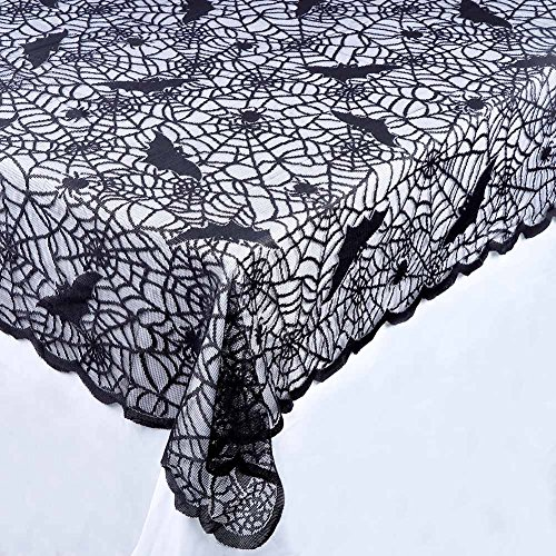 Aytai Halloween Black Web Lace Tablecloth Rectangular Polyester Spooky Bat Lace Tablecover for Halloween Party Table Decorations, 60 x 84 inch