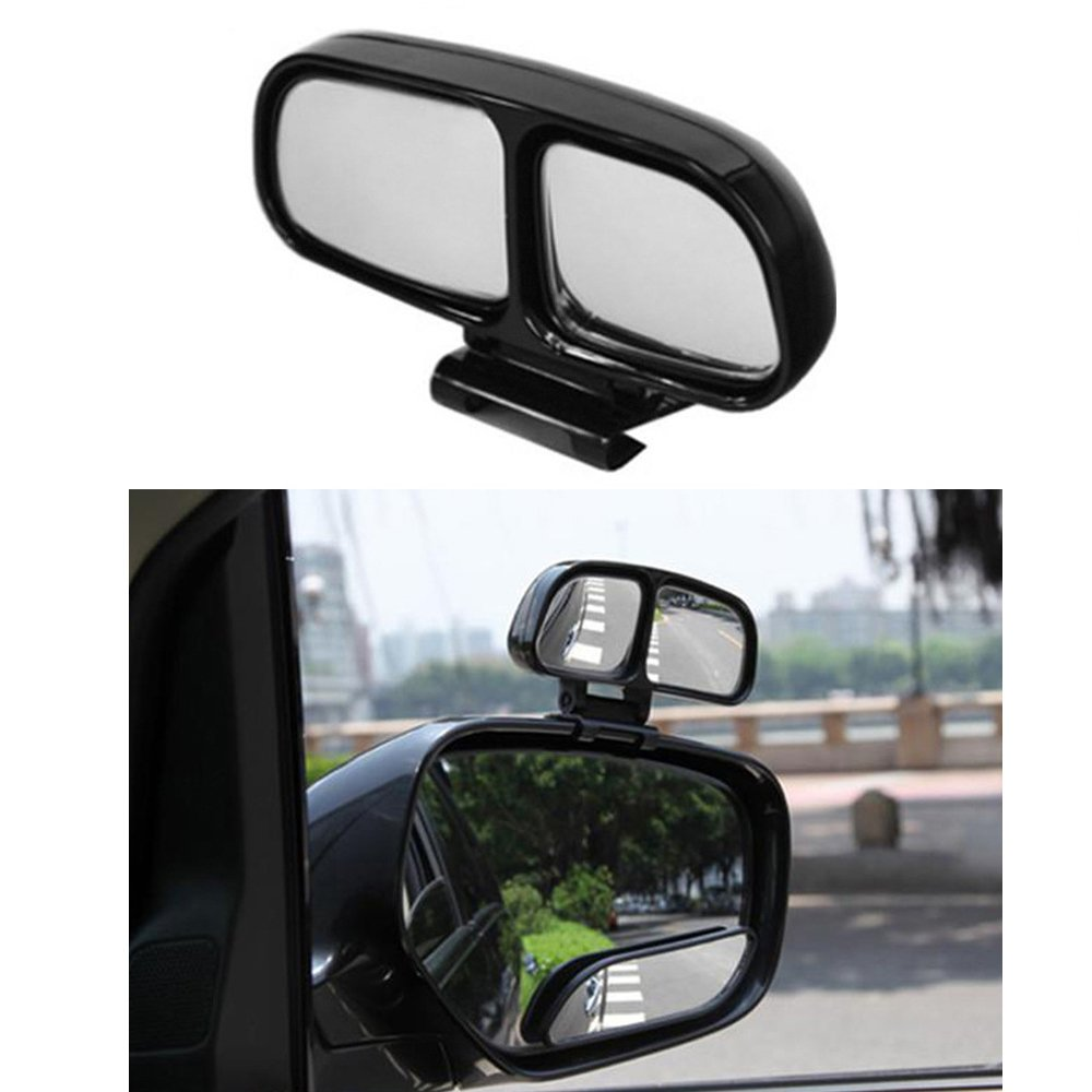 Huteng Left, Silver YASOKO Plastic Housing Auto Auxiliary Blind Spot Mirror Car Side-Angle Side-View Double Mirror 1 Piece