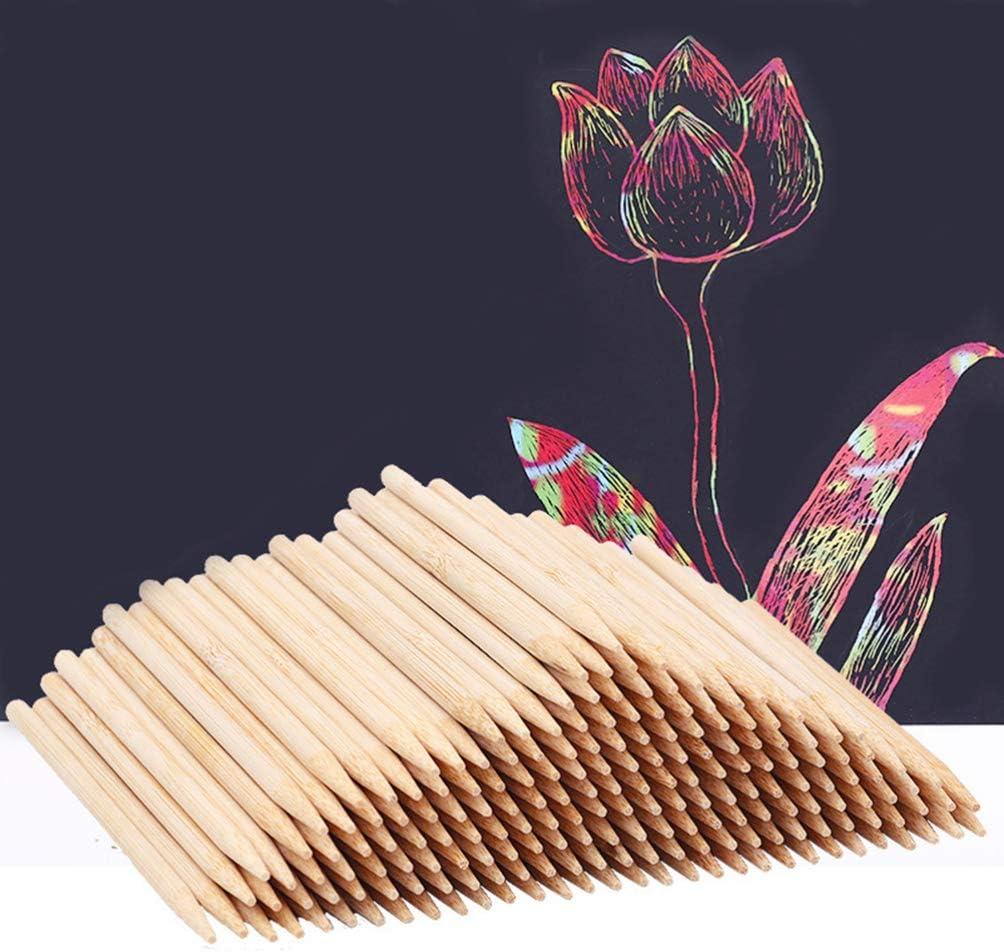 SUPVOX 100pcs Wood Stylus Tools Scratch Art Sticks Wood Stylus Sticks for Kids Children