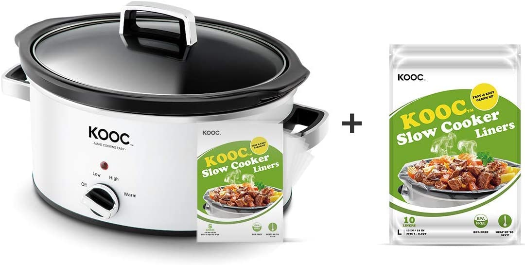 [Bundle Group] KOOC Programmable Slow Cooker 5-Quart (with 5 Bonus Free Liners) + Additional 1 Pack of 10 Liners for Easy Clean-up, Upgraded Pot, Adjustable Temp, Nutrient Loss Reduction