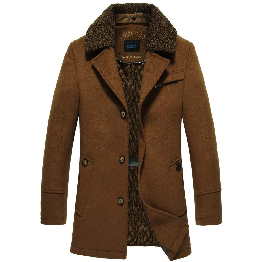 G-Real Men's Winter Medium Length Woollen Jacket Thickened Single Breasted Detached Coat with Removable Hood by G-real Men Outfits