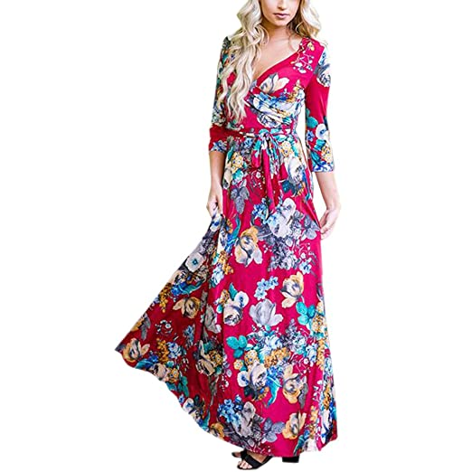911045c8e7d8e Mintsnow Women's Wrap V Neck Floral Print Casual Bohemian Maxi Dress