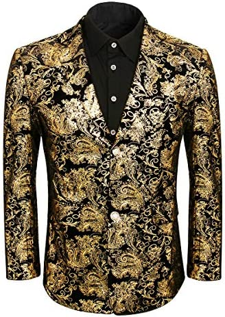Mans Slim Fit Luxury Casual Notched Lapel Floral Party Prom Blazer Jacket