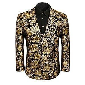 Men Golden Floral Dress Suit Jacket Blazer Slim Fit Wedding Prom Party Notched Lapel Tuxedo Uniform Outfit