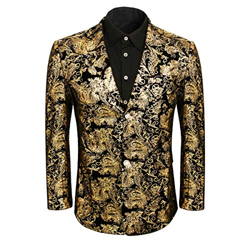 Men Golden Floral Dress Suit Jacket Blazer Slim Fit Wedding Prom Party Notched Lapel Tuxedo Uniform Outfit (X-Large, Golden) - Lapel Tuxedo Coat